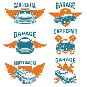 Ремонт автомобилей, гараж, эмблемы автосервиса. элементы для логотипа, этикетки, знака. образ