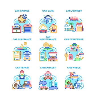Car repair garage set icons vector illustrations. car maintenance and care service, vehicle wreck and insurance, dealership and journey. environment exhaust ecology problem color illustrations