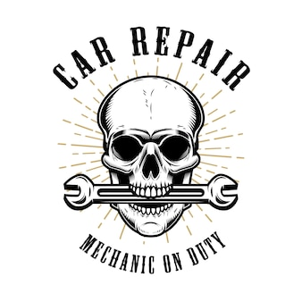 Car repair. human skull with wrench in mouth.  elements for poster, emblem, sign, t shirt.  illustration