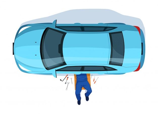 Car repair semi flat illustration