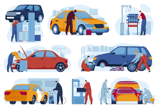 Car repair service for auto set of  illustrations.