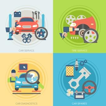 Car repair service design with elements set