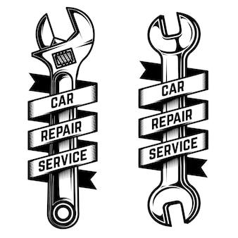 車の修理サービスのエンブレムテンプレート。リボン付きレンチ