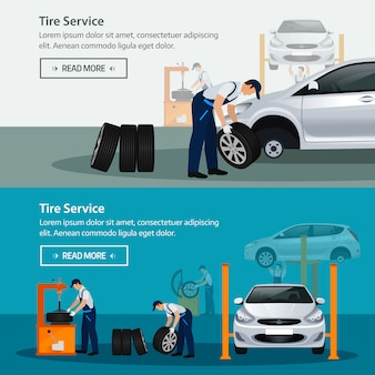 Car repair service,  horizontal banner, different workers in the process of repairing the car, tire service, diagnostics, replacement spare parts.  illustration