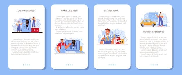 Car repair service mobile application banner set. automobile