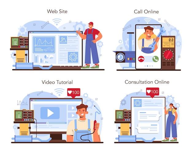 자동차 수리 서비스 온라인 서비스 또는 플랫폼 세트. 자동차 서비스 진단 장비. 제복을 입은 워크샵 정비공. 온라인 상담, 전화, 비디오 튜토리얼, 웹사이트. 평면 벡터 일러스트 레이 션.