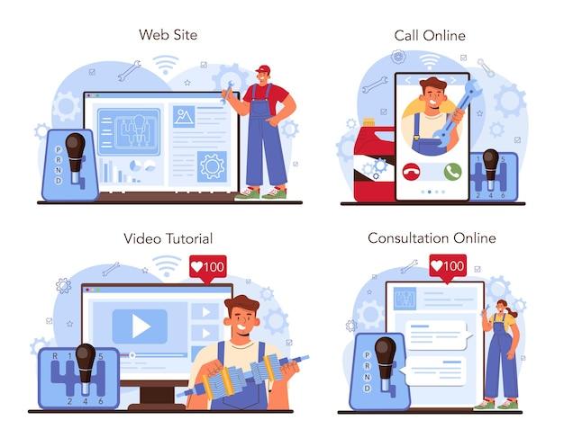 Car repair service online service or platform set. mechanic in uniform