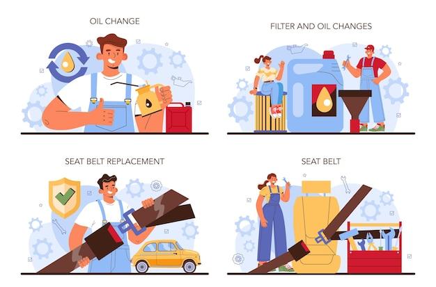 Набор для ремонта автомобилей. автокомпоненты отремонтированы в автомастерской. механик в униформе проверяет ремень безопасности автомобиля, масло и фильтр и заменяет его. плоские векторные иллюстрации.