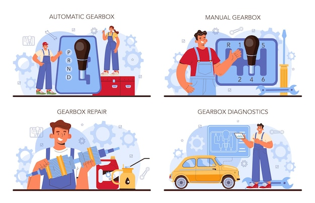 Car repair service set. automobile gearbox got fixed in car workshop. mechanic in uniform check a vehicles automatic or manual gearbox and repair it. flat vector illustration.