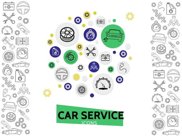 Car repair and service template with wrenches automobile tire radiator gears brake disc steering wheel