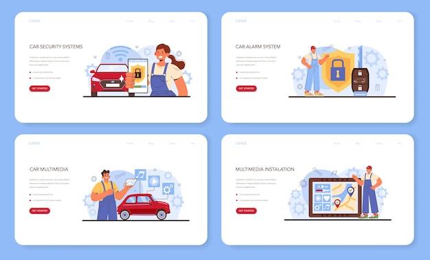자동차 수리 서비스 웹 배너 또는 방문 페이지 설정 자동차 멀티미디어