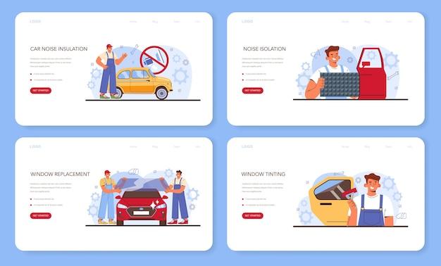 Автосервис веб-баннер или целевая страница набор автомобильный звук