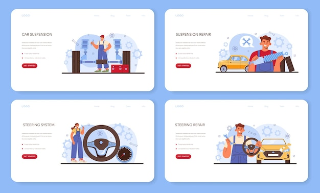 자동차 수리 서비스 웹 배너 또는 방문 페이지 세트