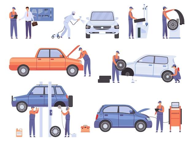 Рабочие автосервиса. механик в автомастерской меняет колеса и ремонтирует поврежденный автомобиль. набор векторных людей центр обслуживания автомобилей. иллюстрация механик и рабочий, авторемонтник