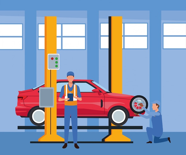 Car repair shop scenery with lifted car and mechanics working