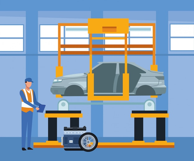 Car repair shop scenery with mechanic standing and machine with car lifted and car parts