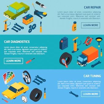 Car repair tuning isometric banners set
