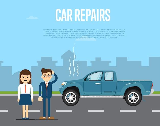 Car repairs banner with people near broken pickup