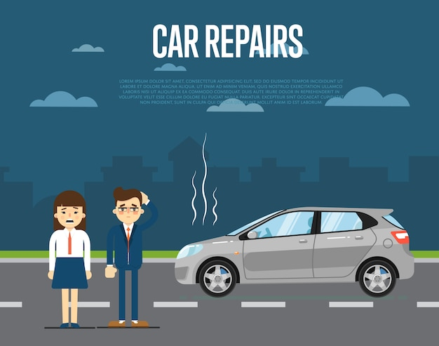 Car repairs concept with people