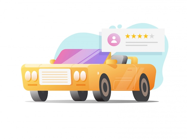 Car review rank service or automobile testimonial feedback with customer rating stars bubble