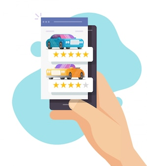 Car review rating online on person mobile phone