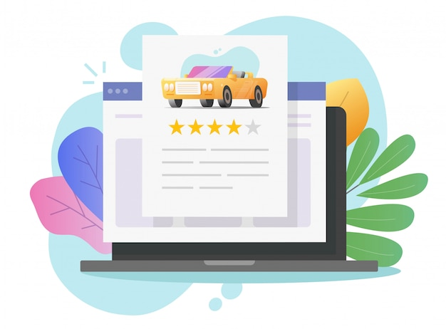 Car review reputation text online on laptop computer or automobile testimonial feedback and customer rating internet web pc  flat