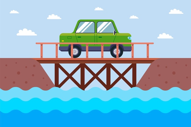 The car rides on a wooden bridge across the river. flat  illustration.