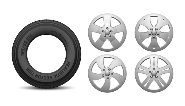 Car rims and tire. isolated realistic rubber wheels.