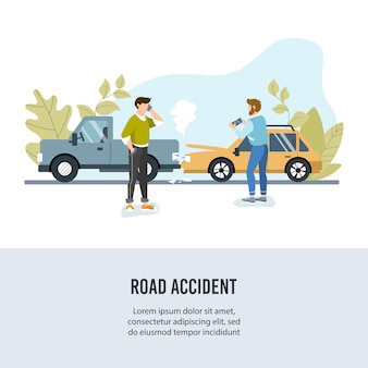 Car road accident. banner for motor insurance.