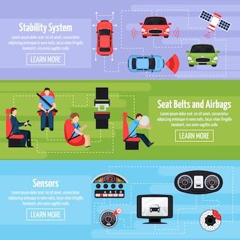 Системы безопасности автомобиля горизонтальные баннеры Бесплатные векторы