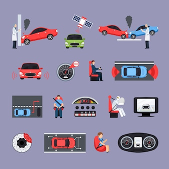 Car safety systems icons set