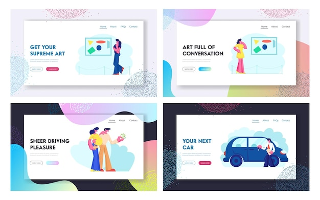 Car sale and exhibition website landing page set