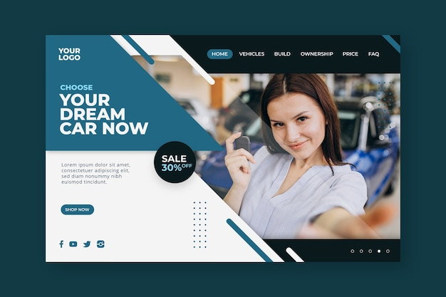 Car sale landing page template with woman