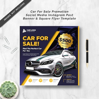 Car for sale promotion social media instagram post banner and square flyer template