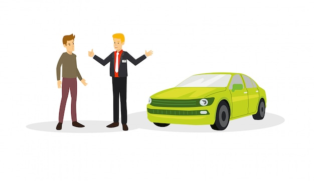 A car sales with the customer on the negotiation to buy the car