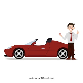 Car salesman composition with flat design