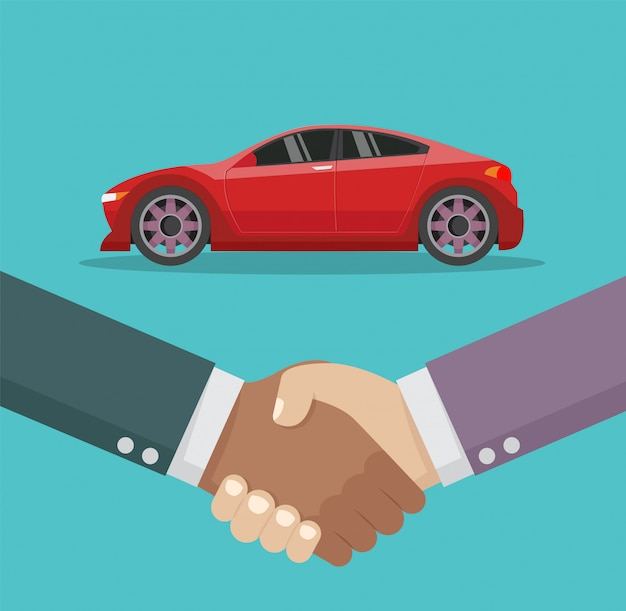 Car salesman handshake and new car.