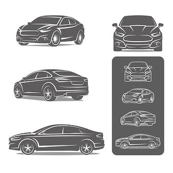 Автомобиль седан все иконки представления набор векторные иллюстрации