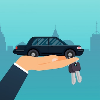 Car seller hand holding key to buyer. selling, leasing or renting car service.   modern  illustration concept.