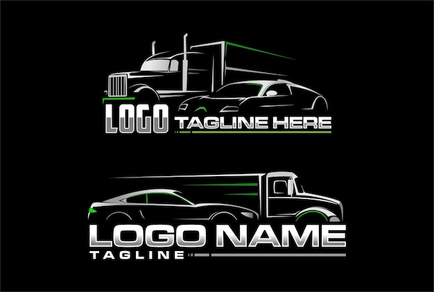 Car and semi truck logo