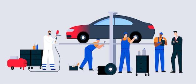 Сцена обслуживания и ремонта автомобилей.