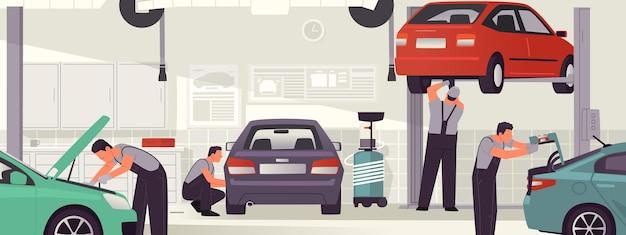 Автосервис и ремонт автомастерская салон механика мужчины обслуживают автомобили