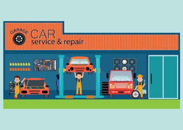 작업자와 자동차 서비스 및 수리 센터 또는 차고
