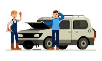 Car service auto repair mechanic with client