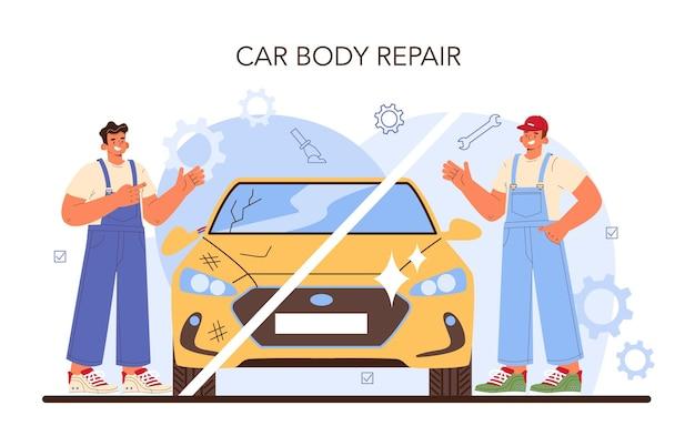 자동차 서비스. 자동차는 차고에서 고쳤습니다. 제복을 입은 정비사가 차량을 확인하고 수리합니다. 교정 및 자동차 찌그러짐. 평면 벡터 일러스트 레이 션.