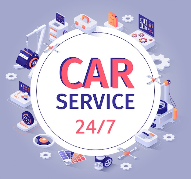 Car service banner offer 24/7 customer support