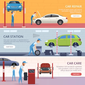 Car service banners. mechanic workshop repair auto advertising banners