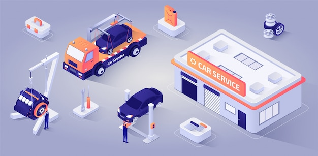 Car service building with mechanics at work vector
