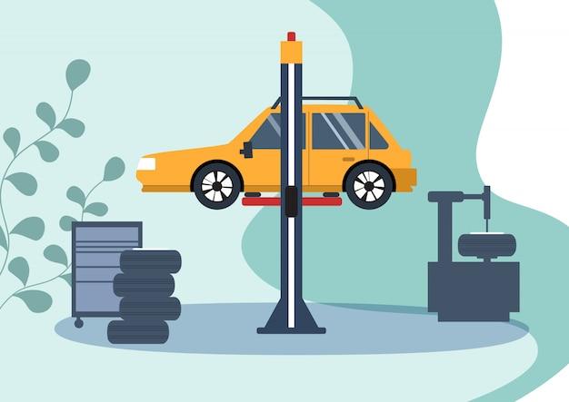 車のサービス、車の修理。フラットの図。
