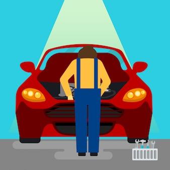 Автосервис. ремонт и диагностика автомобилей. автообслуживание. военнослужащий за работой. векторная иллюстрация